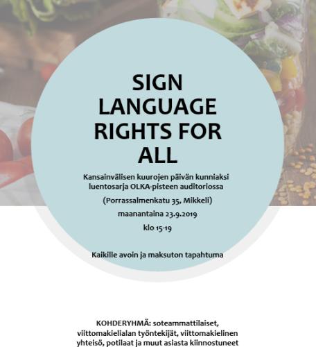 SIGN LANGUAGE FOR ALL- Tapahtuma Ma 23.9. Mikkelissä