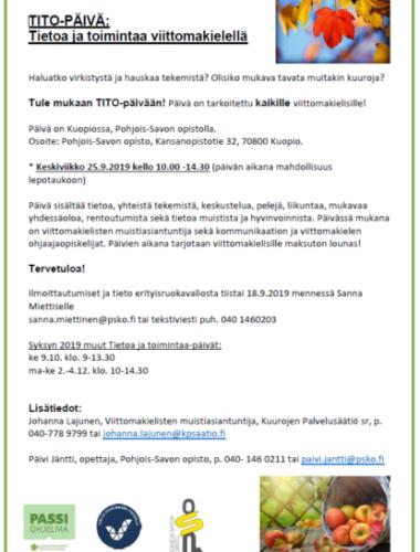 Tietoa- Ja Toimintaa -päivä Kuopiossa Torstaina 25.9.2019 Klo 10.00 – 14.30