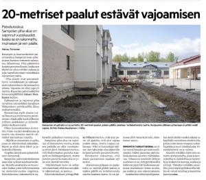 Hämeen Sanomat 23.5.2021: 20-metriset paalut estävät vajoamisen