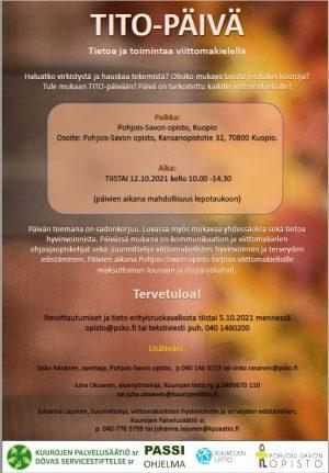 Tiedote TITO-päivästä Kuopiossa 12.10.2021